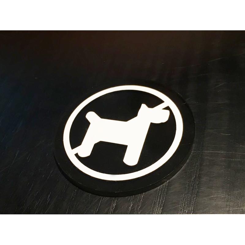 圓直徑8cm-5mm黑色壓克力上貼卡典-禁止寵物