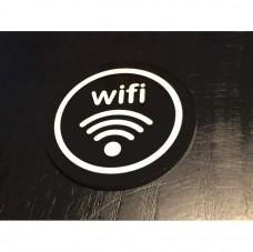 圓直徑8cm-5mm黑色壓克力上貼卡典-WiFi